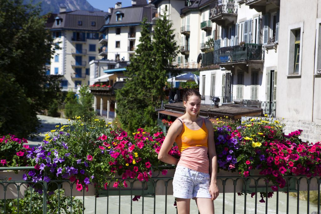 Enjoying the sun and flowers in Chaminix